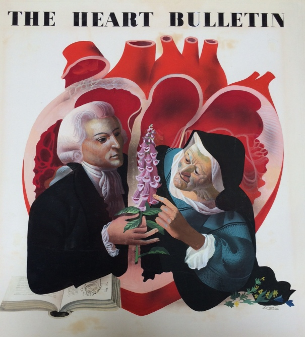 A painting of Dr. William Withering, and an herb-woman with a foxglove plant, used as the cover for the first issue of the Heart Bulletin journal published by the Medical Arts Publishing Foundation