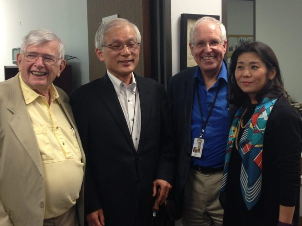 Left to right, William J. Schull, Ph.D., professor emeritus of genetics and epidemiology at the School of Public Health at The University of Texas Health Science Center at Houston; Masahito Ando, Ph.D., a professor of archival science at Gakushuin University in Tokyo, Japan; Philip Montgomery, MLIS, CA, head of the TMC Library's McGovern Historical Center; and archivist and historian Kaori Maekawa. (Credit: Maggie Galehouse, TMC News)